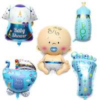 5pcs Baby Boy Birthday Party Balloons Decorations Baby Boy Air Balloons Foil Balloon