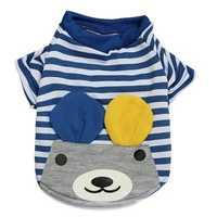Summer Pet Puppy Dog T Shirt Striped Cotton T-shirt Bear Apparel