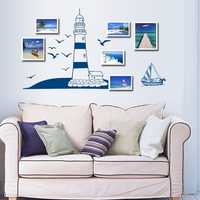 Sailing Boat Lighthouse Sea Gull Wall Sticker Wall Background Decor Home Decor