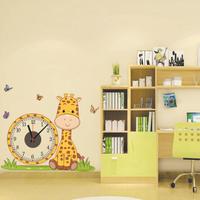 DIY Creative Giraffe Wall Clock Wall Stickers Butterfly PVC Removable Wall Art Home Decor