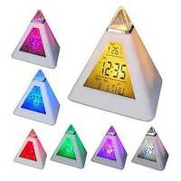 7 Colors Changing Pyramid Colorful clock Digital LED Alarm Clock Calendar Thermometer Time
