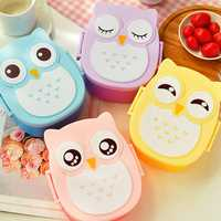 900ml Plastic Bento Lunch Box Square Cartoon Owl Microwave Oven Food Container