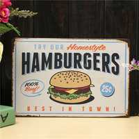 Hamburgers Sheet Metal Drawing Retro Metal Painting Pub Club Cafe Poster Sign Tin Decor