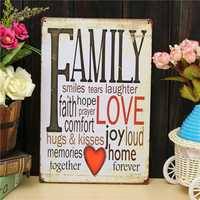 Family Love Sheet Metal Drawing Metal Painting Tin Wall Home Poster Sign