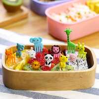 Mini Cartoon Zoo Animal Fruit Fork Resin Toothpick Decorative Plastic Forks Cutlery Set