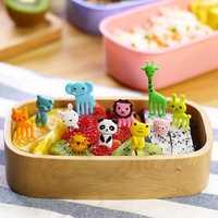 Mini Cartoon Zoo Animal Fruit Fork Resin Toothpick Decorative Plastic Forks Cutlery Set