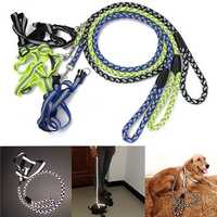 Luminous Safety Dog Harness Leash Reflective Adjustable Nylon Rope Puppy Harness