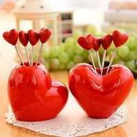 Red Heart Fruit Snack Stainless Steel Fork Set Kitchen Gadget Creative Kitchen Tools