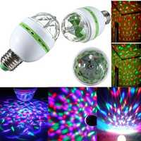 E27 3W RGB LED Bulb Colorful Auto Rotating Stage Disco Light 85-265V