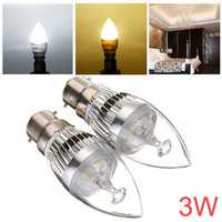 Dimmable B22 3W AC 220V White/Warm White LED Chandelier Candle Bulb