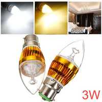 Dimmable B22 3W 220V White/Warm White LED Candle Bulb Golden Shell