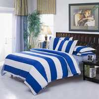 3 Or 4pcs Polyester Fiber Blue White Big Stripe Reactive Print Bedding Sets