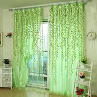 100x200cm Green Leaves Voile Window Screening Balcony Bedroom Window Curtain