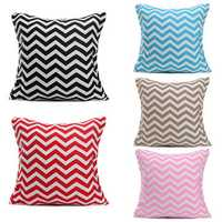 43cm x 43cm Wave Stripes Print Linen Cushion Cover Sofa Cotton Pillow Cases