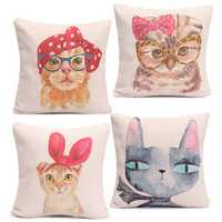Cute Hair Salon Rabbit Cat Animal Throw Pillow Cases Home Sofa Office Cushion Cover