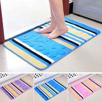 60x40cm Floral Rose Stripe Indoor Floor Mat Anti Slip Door Bathroom Kitchen Rug Carpet
