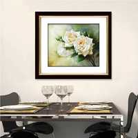 54x45cm 3D White Rose Printing DIY Cross Stitch Kit Embroidery Home Room Decor