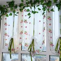 100x80cm Strawberries Liftting Tulle Curtain Door Window Sheer Curtain Blinds
