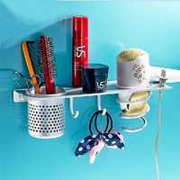 Aluminum Wall Mounted Hair Dryer Stand Bathroom Sundreis Organizer Storage Holder With Hooks