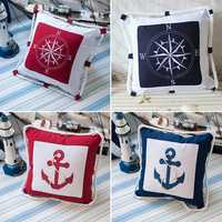 Nautical Sailing Anchor Compass Throw Pillows Canvas Cushion Sofa Office Car Decor