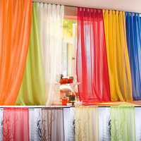 100x200cm Pure Color Tulle Window Curtain Balcony Bedroom Soft Sheer Window Screen