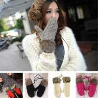 Winter Soft Mitten Girls Womens Knitting Wool Thickened Gloves
