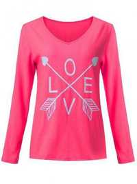 Women Cute Letter Long Sleeve Casual Loose T-Shirt