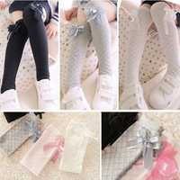 Children Girls Bow Socks Knee High Silk Dress Stockings