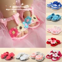Baby Toddler Handmade Sandals Crochet Knit Flower Shoes