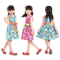 Baby Girls Sleeveless Flower Colorful Bowknot Princess Dress