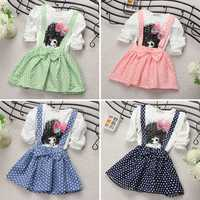 New Baby Kids Girl Cotton Long Sleeve Polka Dots Party Princess Dress