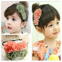 Baby Children Girls Chiffon Flower Hair Band Soft Elastic Hair Hoop