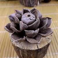 Handmade Clay Ceramic Incense Holder Lotus Leaf Incense Burner