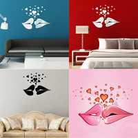 Love Kiss Lips Hearts Pattern Mirror Wall Art Stickers