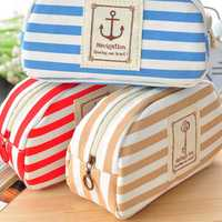 Three Colors Navy Canvas Pencil Case Cell Phone Coin Storage Purse