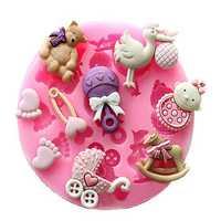 Baby Pram Bear Carrousel Silicone Mould Fondant Cake Decoration Mold
