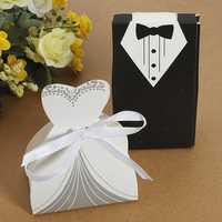100pcs Wedding DRESS & TUXEDO The Bride and Groom Candy Box