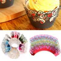 12pcs 7 Colors Filigree Cup Cake Wrappers Wrap Case Wedding Birthday Party Supplies