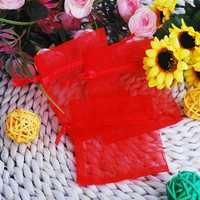 100pcs Red Organza Pouch Wedding Party Favor Gift Bags 7X9cm