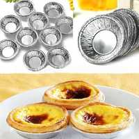 125Pcs Disposable Round Silver Foil Baking Cookie Cup Cake Tart Mold