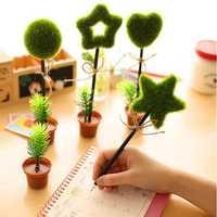 Lovely Green Plants Potted Shape Ballpoint Ball Pen