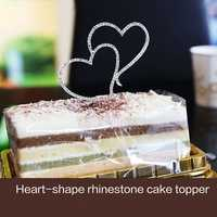 Romantic Crystal Double Heart Cake Topper Wedding Decoration Creative Baking Tools