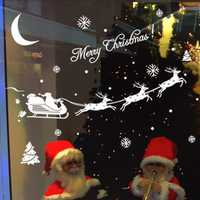 Christmas Santa Claus Reindeer Snowflakes Wall Sticker Decoration