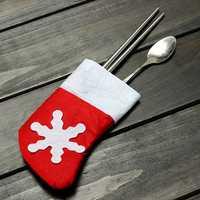 10Pcs/Set Christmas Socks Cutlery Tableware Holder Storage Sets Dinner Decor