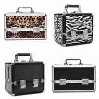 Pro Aluminum Lockable Makeup Train Case Box Travel Cosmetic Container
