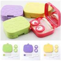 4 Colors Contact Lens Care Holder Case Tweezers Mirror Lenses Storage Box