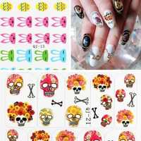 Flower Skull Rabbit Design Nail Sticker Decal