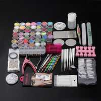 Pro 48 Manicure Decoration Acrylic Glitter Nail Art Tips Tool Kit Set