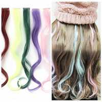 6 Colors Colorful Long Synthetic Wig Curly Hair Extensions Clip