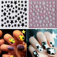 Glitter Black White Star 3D Nail Stickers Decal Decoration